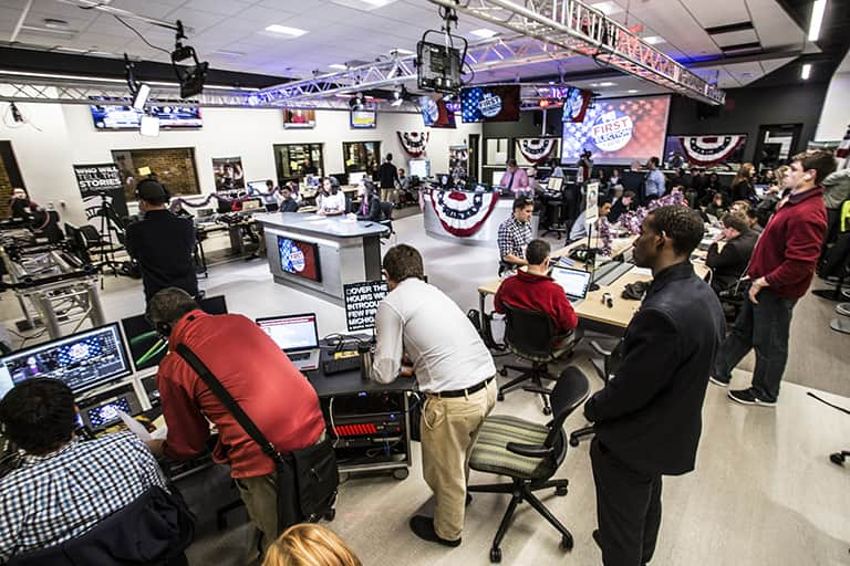 Journalism students reporting in the ComArtSci newsroom on election night.
