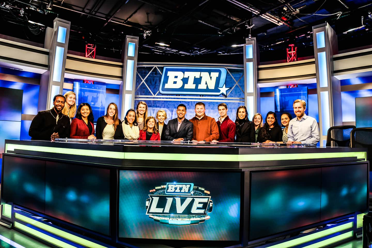 Students working with the Big Ten network