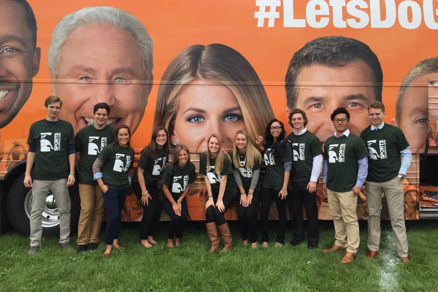 MSU sports journalism student interns posing in front of the ESPN Game Day truck.