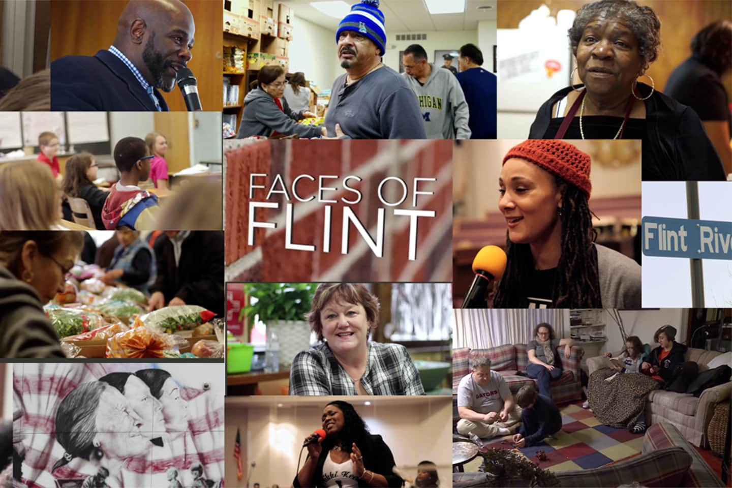 poster for the documentary Faces of Flint featuring a still image from each of the episodes.