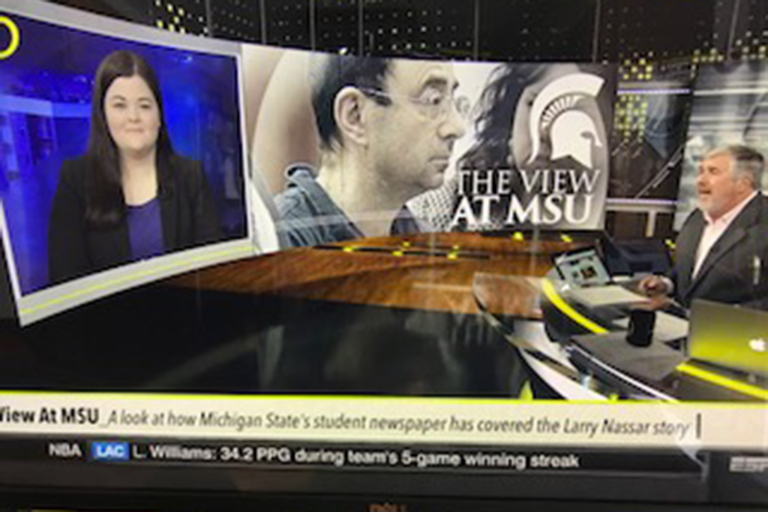 MSU Journalism senior Rachel Fradette appears on a national sports show on ESPN.