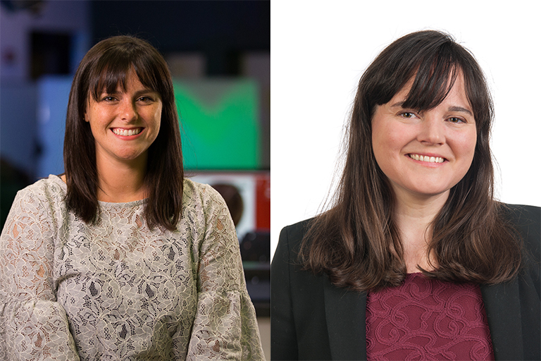 Headshots of Assistant Professors Elizabeth Dorrance Hall (left) and Allison Eden.
