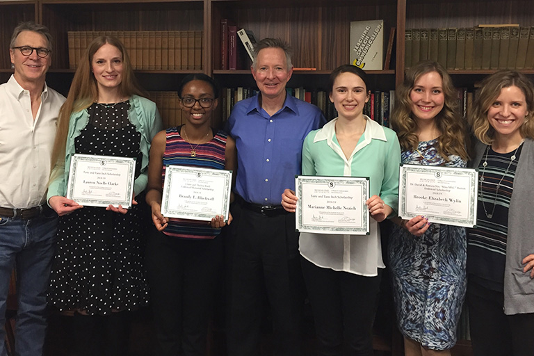 2018 Award recipients. From left to right: Dr. Vernon Miller, Lauren Clarke, Brandy Blackwell, Dr. Jim Dearing (Chair), Marianne Nezich, Brooke Wylin and Dr. Amanda Holmstrom
