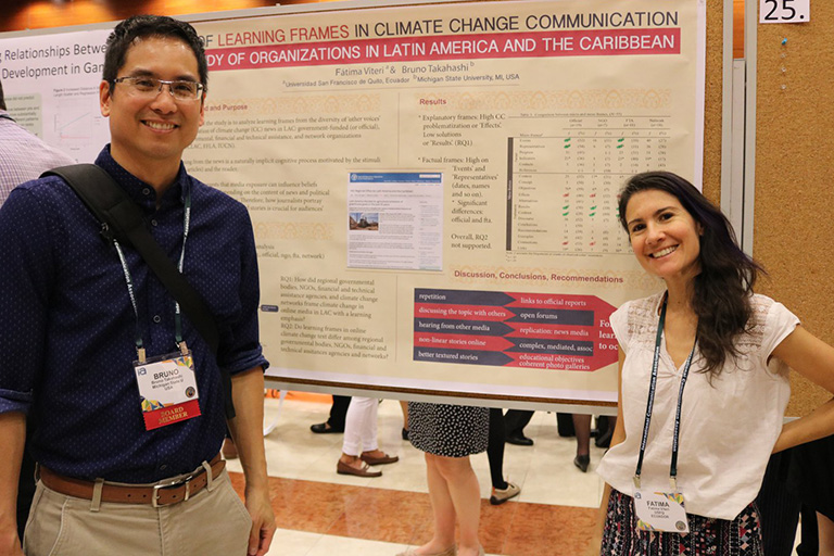 MSU School of Journalism professor Bruno Takahashi, left, presented at the ICA conference.