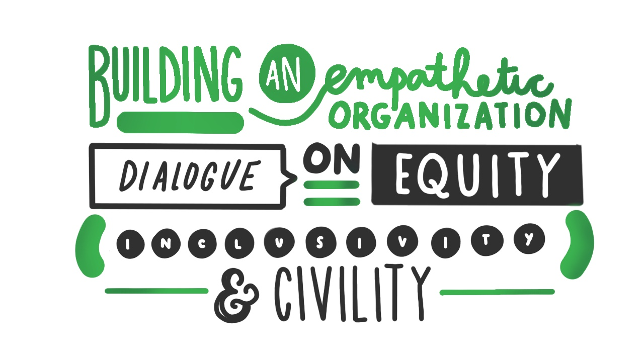 Graphic with words: Building an empathetic organization, dialogue on equity, inclusiveness and civility