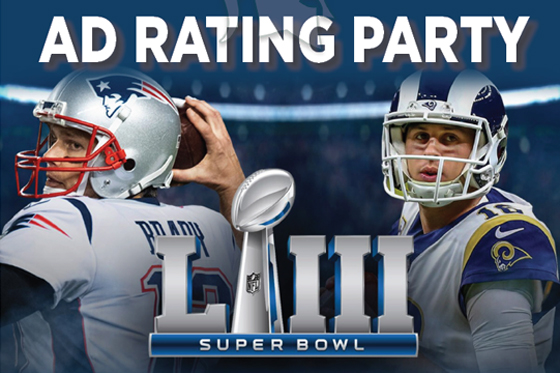 Photo of Super Bowl football players with words Ad Rating Party and Super Bowl LIII