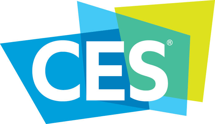 Consumer Electronics Show logo of blue and lime green overlapping squares