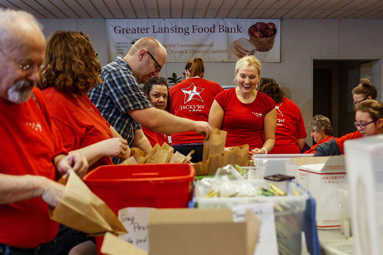 Danielle Robinson volunteers at Greater Lansing Food Bank