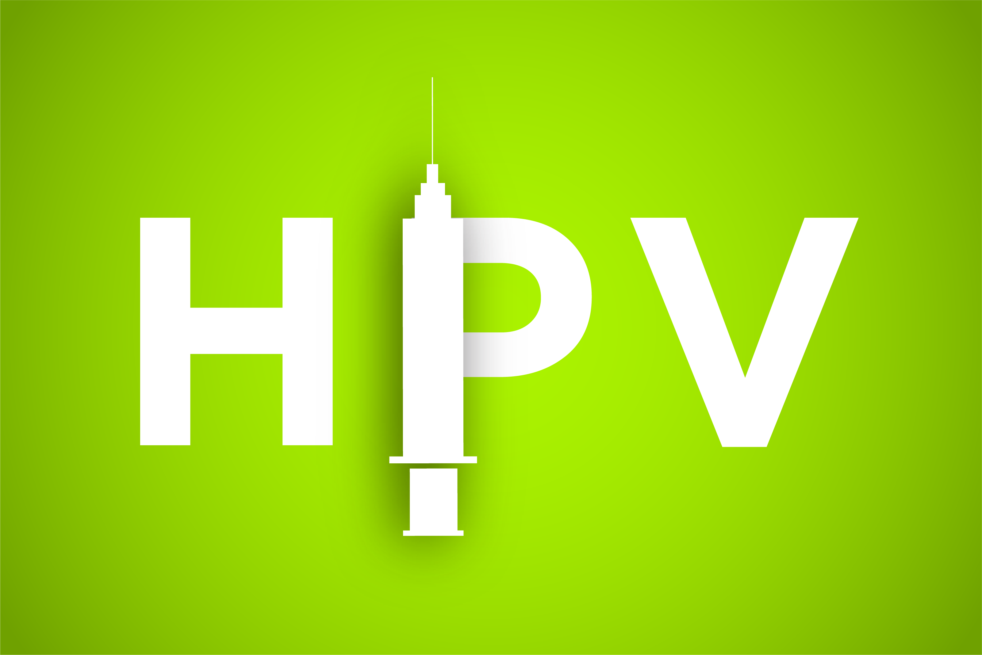 Graphic of HPV with a vaccination needle