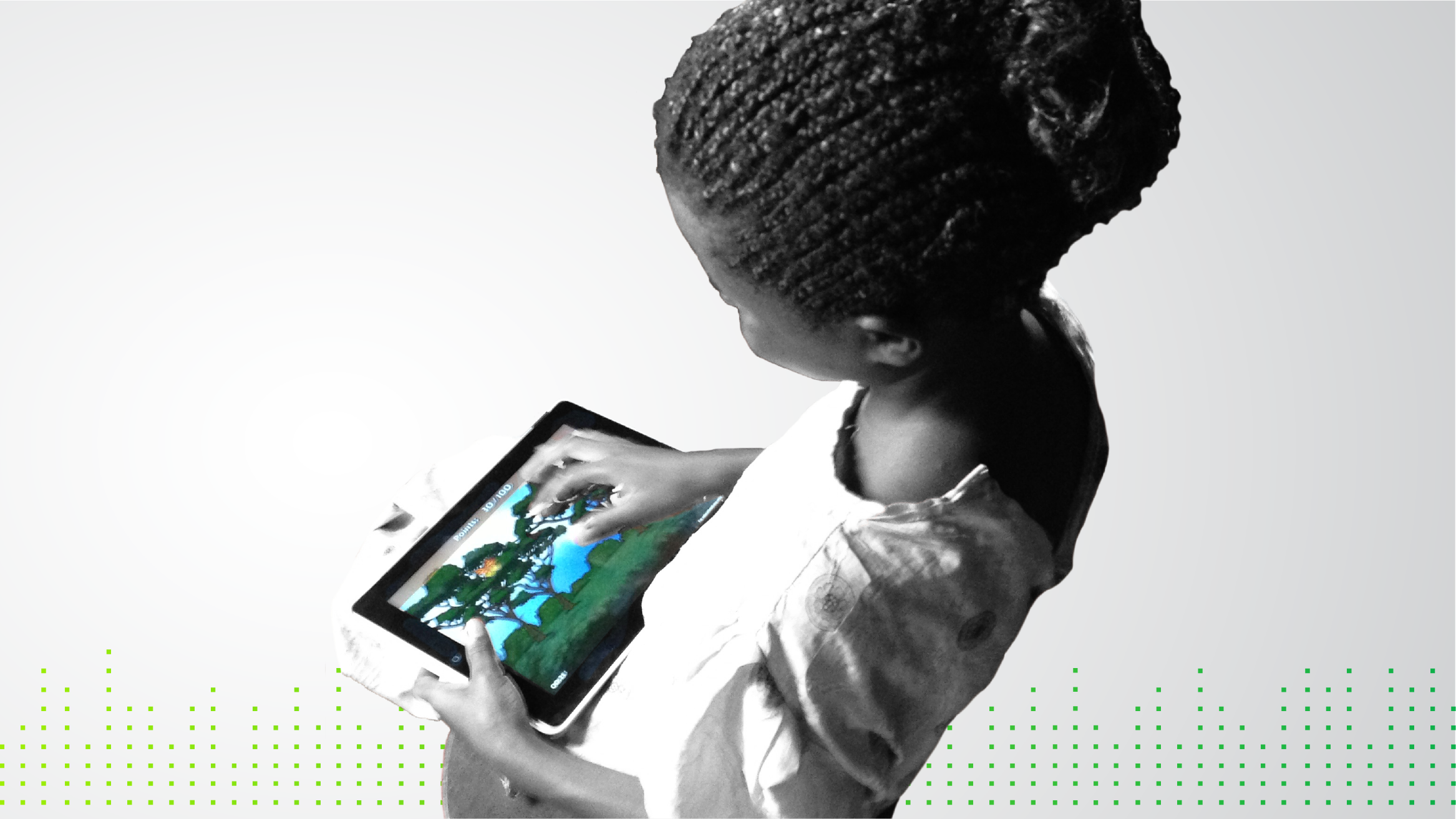 Graphic with photo of African girl playing a digital game
