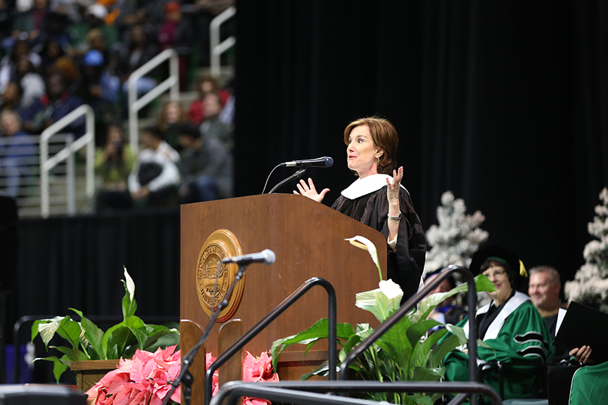 Photo of Susan Packard Speaking at Commencement