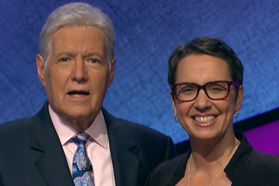 "Robin Miner-Swartz is pictured with ""Jeopardy!"" host Alex Trebek."