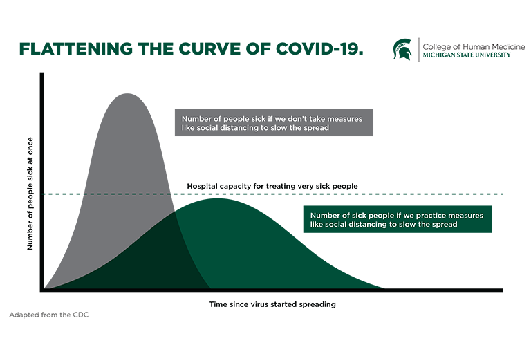 CDC Graphic with MSU to Flatten the Curve