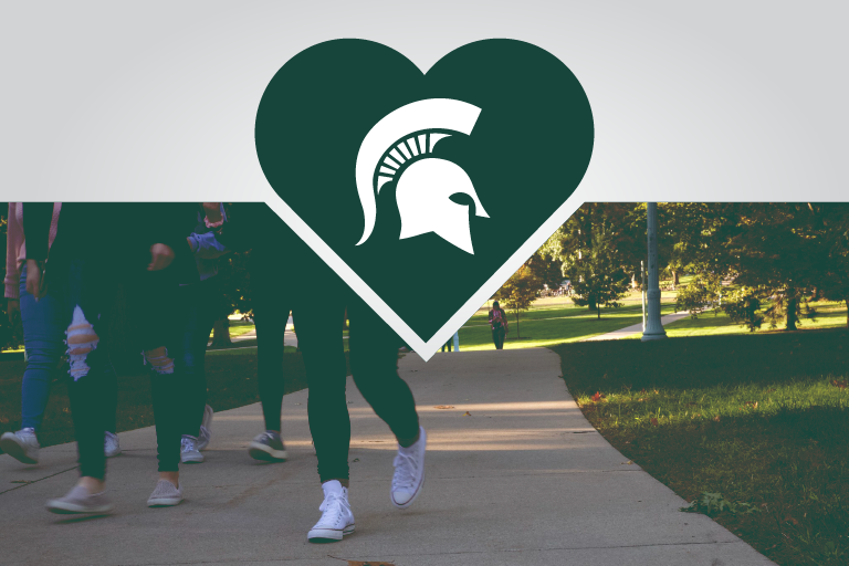 Graphic showing Spartan logo in a heart with students in picture