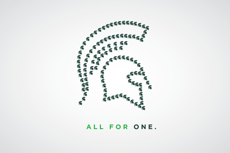 All for one graphic with Spartan helmets