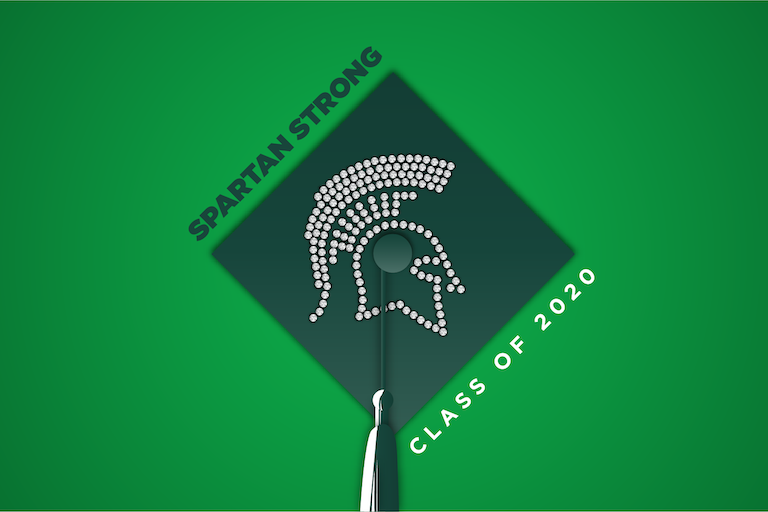 Graphic of graduation cap with the words Spartan Strong and Class of 2020