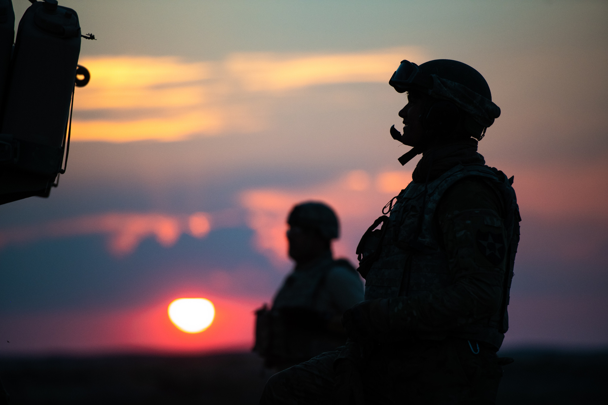 Photo of Michigan National Guard soldiers at sunset