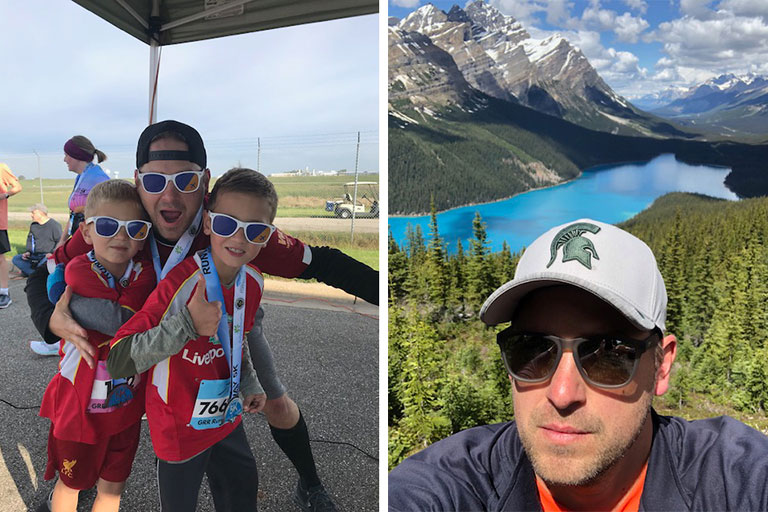 L: Photo of Sorensen with his kids from a race last year. R: Photo of Zak Sorensen
