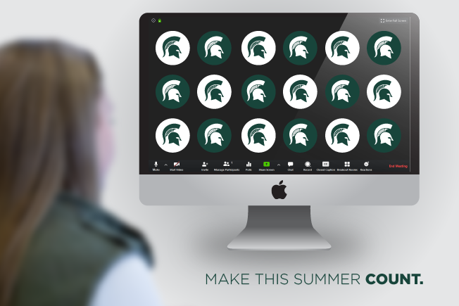 Make this summer count. Image of student at computer