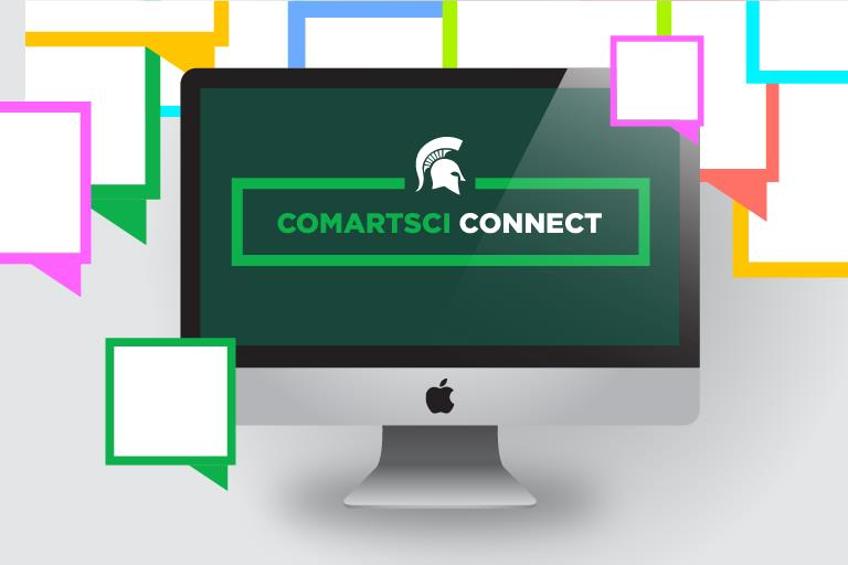 Graphic showing ComArtSci Connect on a computer