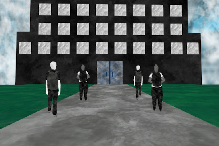 Screenshot of a game showing students entering a school