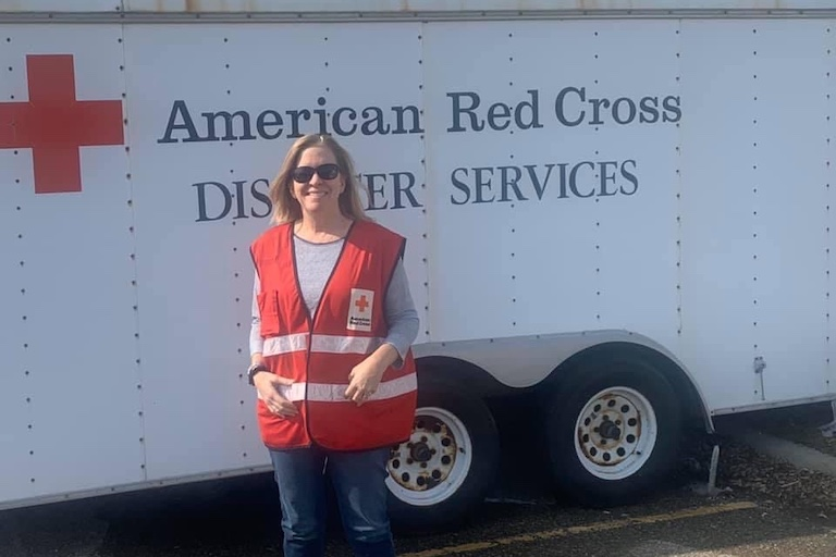 Photo of Julie Beaty volunteering with the American Red Cross