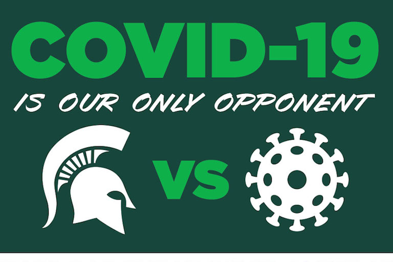 Graphic that reads COVID-19 is our only opponent with Spartan helmet versus Coronavirus