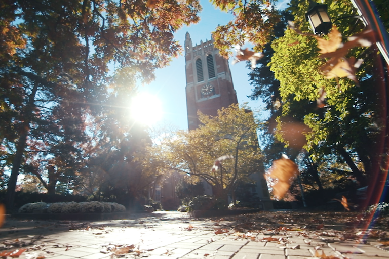 Photo of sunlight and fall colors at Beaumont Tower