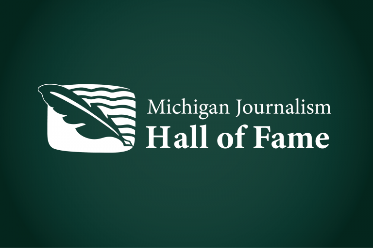 Graphic for Michigan Journalism Hall of Fame