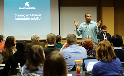 Instructional Designer James Bender speaks on Creating a Culture of Accessibility at MSU during the Accessible Learning Conference.