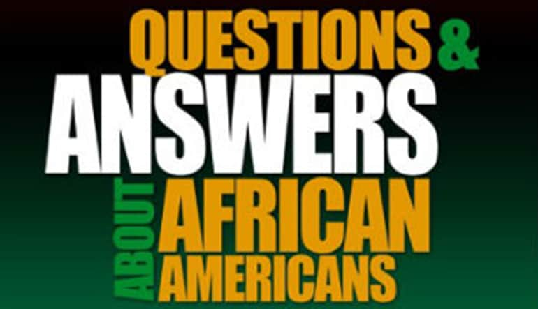 "Front cover of the book, ""Questions and Answers About African Americans."""