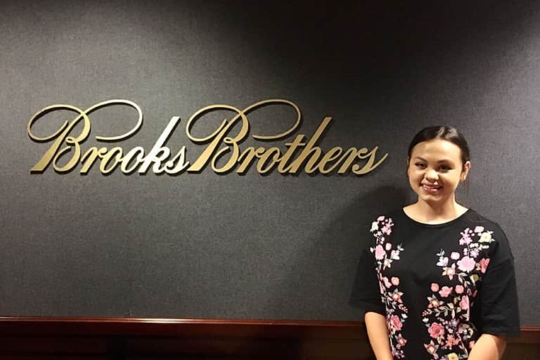 Student Brooke Segal interning at Brooks Brothers