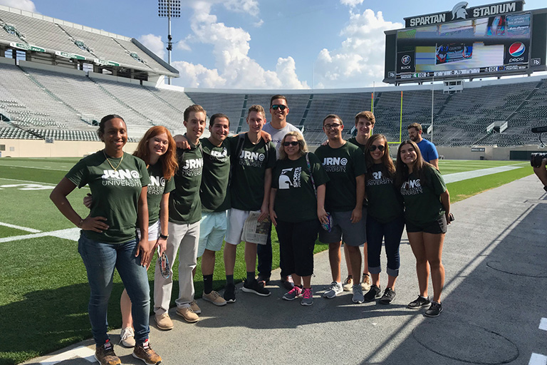 Sports JRN students in Spartan Stadium