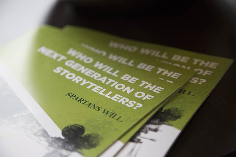 "The MSU TCFF booklet reading, ""WHO WILL BE THE NEXT GENERATION OF STORYTELLERS? SPARTANS WILL."""