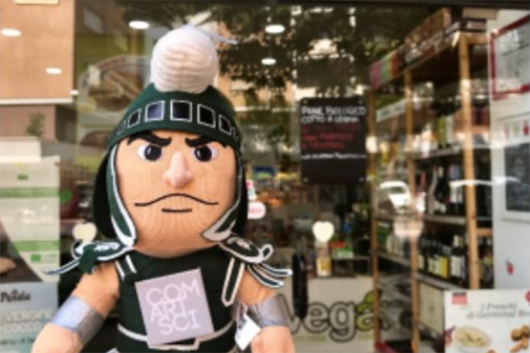 Sparty at vegan store