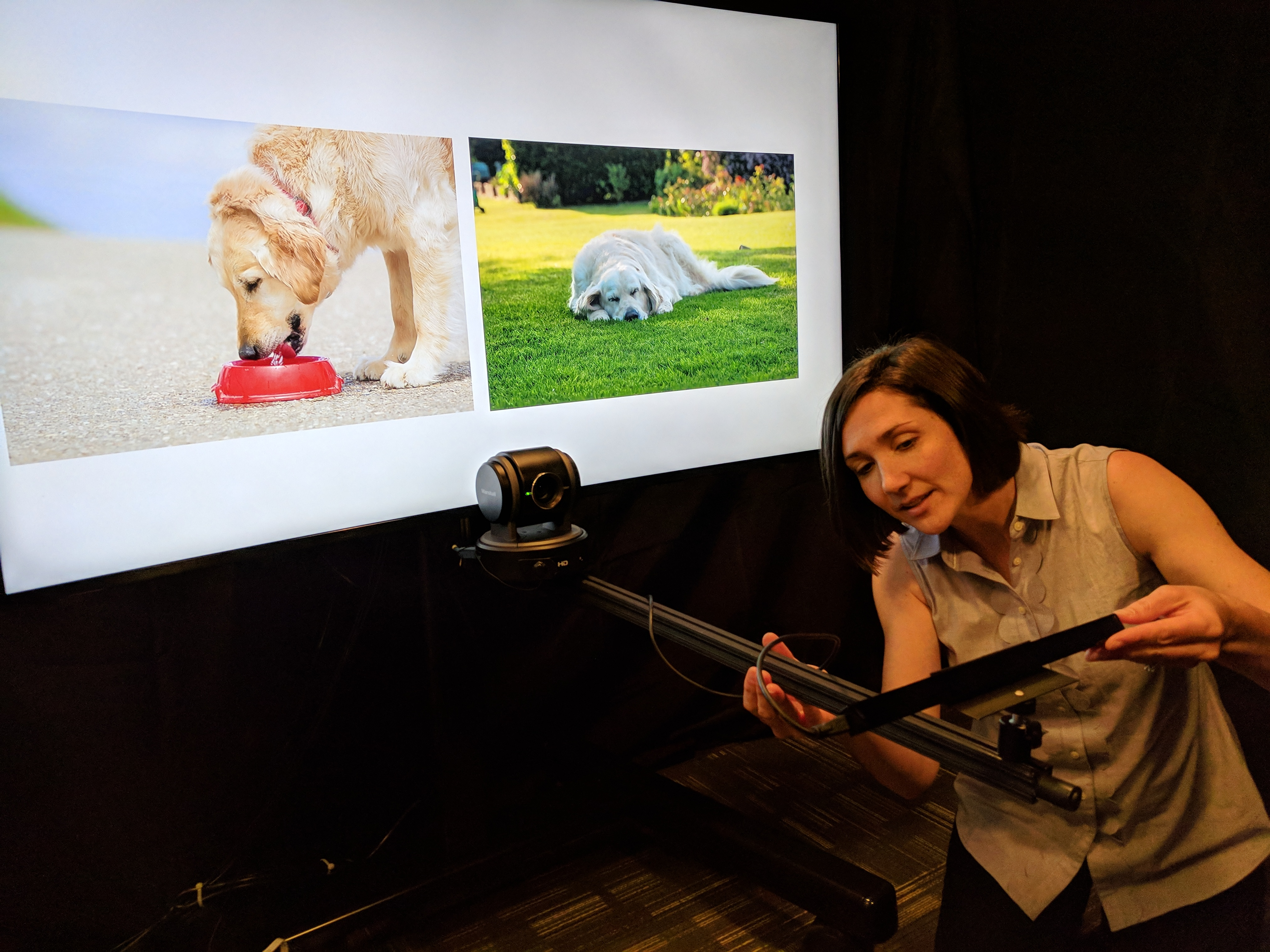 Courtney Venker tests eye-tracking device at the Lingo Lab