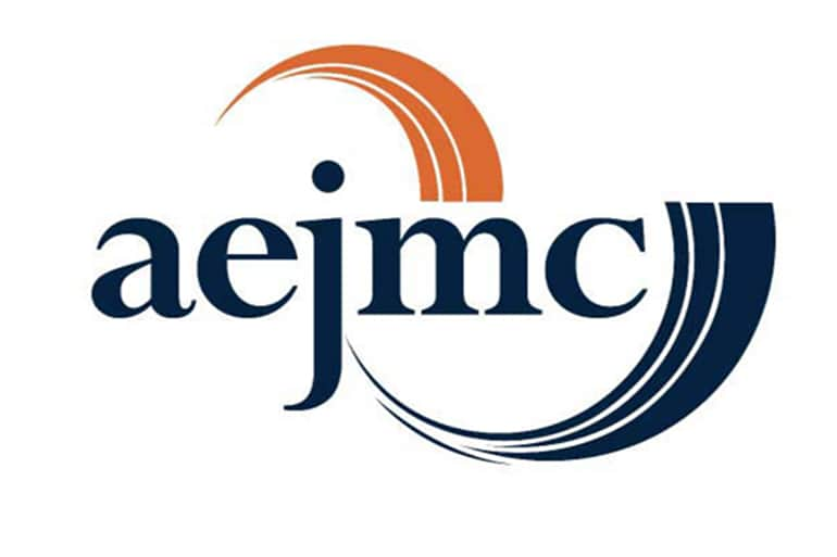 Logo for the Association for the Education in Journalism and Mass Communication (AEJMC). The logo is the initials for the association set in lowercase and in the color of dark blue.