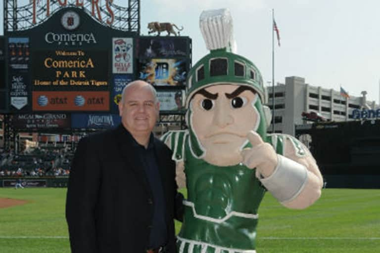 Mike Healy with MSU Sparty at Detroit's Comerica Park.