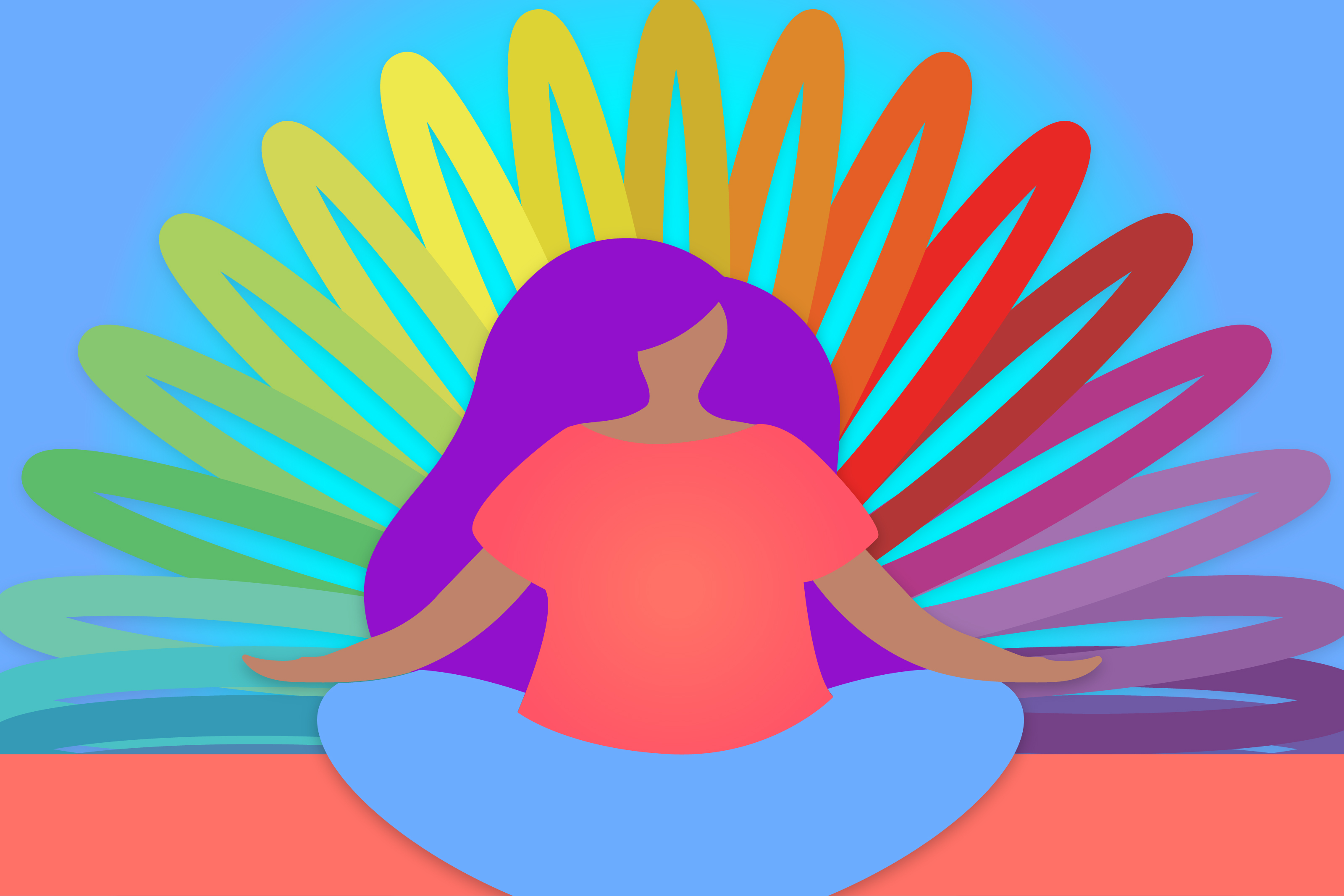 Graphic of woman meditating with colored slinky in the back