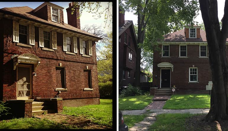 Side by side exterior photos of an old, brick two story historic house in Detroit that was under renovation.