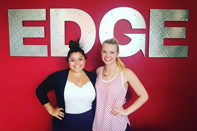Leigh Fitzpatrick and Raquel Izzo at their internship at Edge Partnerships.