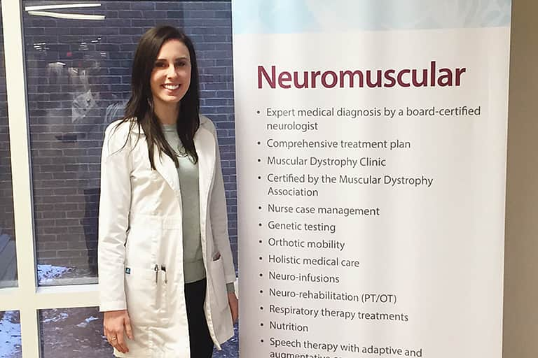 CSD Intern Lauren Glowski at Mercy Health Hauenstein Neuroscience Center.