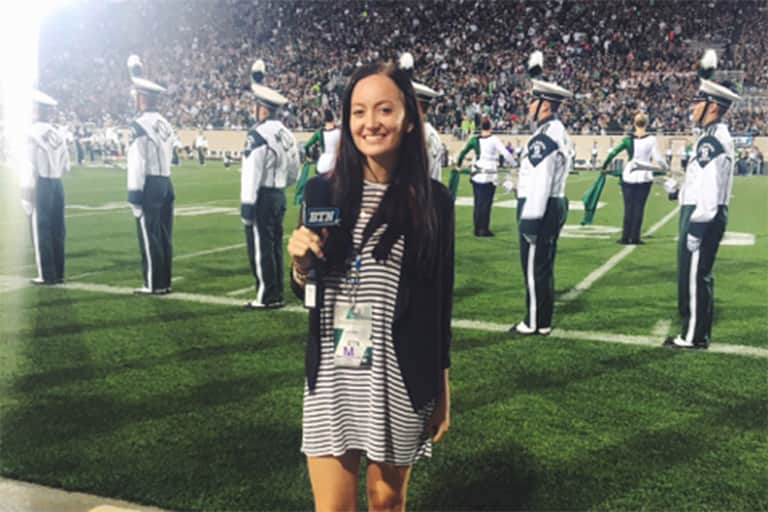 Madeline Stamm reporting for the Big Ten Network during a MSU football game.