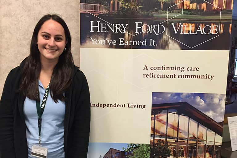 CSD intern Rachel McKenna at Henry Ford Village.