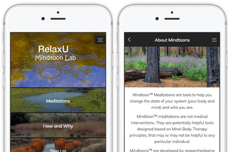 Screenshot of the RelaxU app