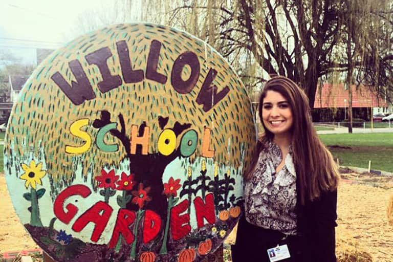 Cristina Resnanio at Willow School garden.