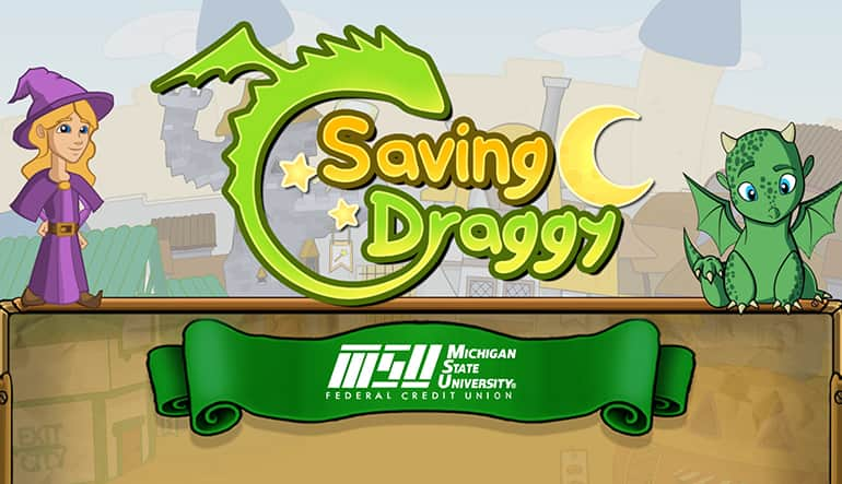 Screenshot of the GEL Lab game Saving Graggy featuring baby dragon Draggy and a wizard.