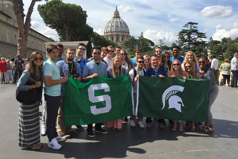 Group photo taken on June 27th of the first 22 students to take the Sports Journalism Study Abroad program.