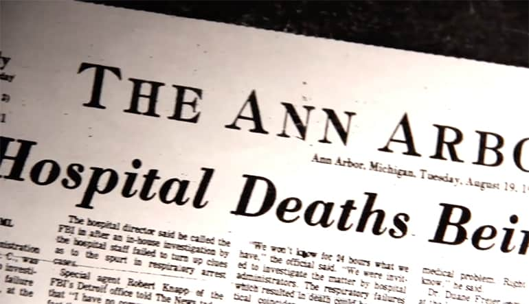 "Front page of the Ann Arbor newspaper dated August 19, 1975. Headline is, ""Hospital Deaths Being Investigated."""