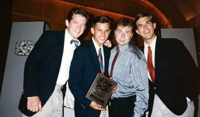 "Patrick New, Steve Van Wormer, David Sakol and myself. We went to Washington, D.C. in July 1990 to pick up an award we won for THE SHOW (""Best College TV Show"")."